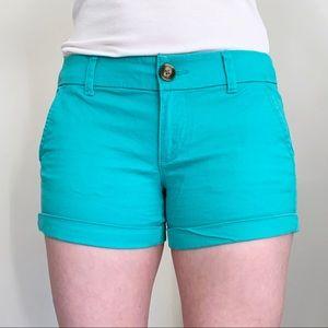 American Eagle aqua teal midi shorts